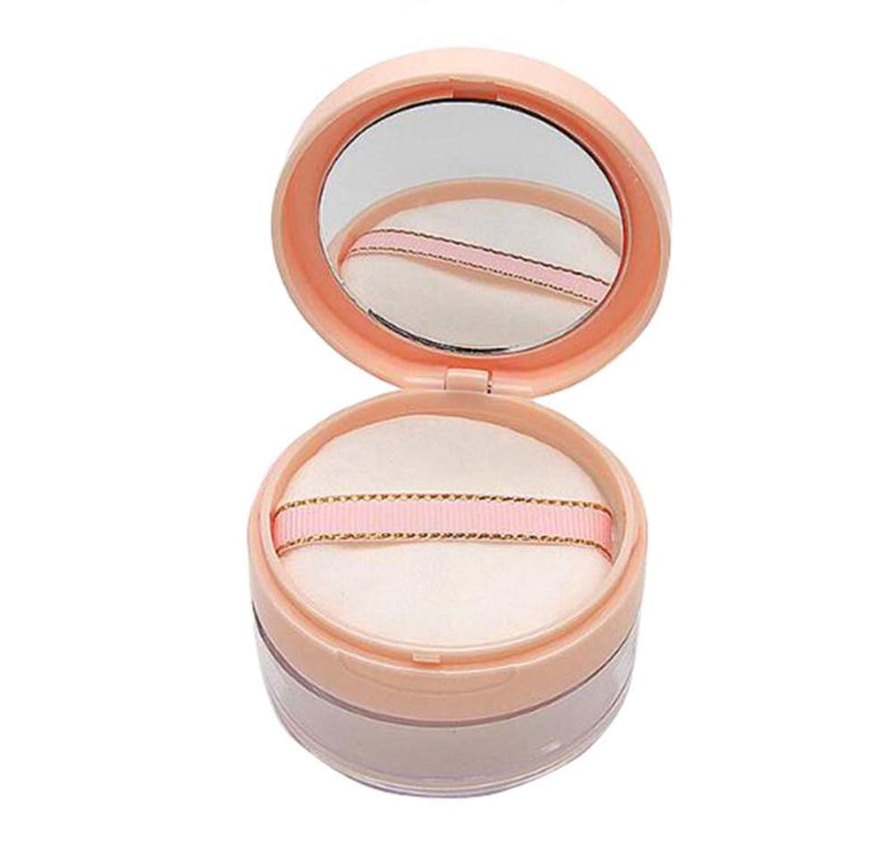 20ml 0.67oz Empty Refillable DIY Make-up Loose Powder Case Container with Soft Sponge Puff Mirror and Sifter Foundation Cosmetic Box (Pink) erioctry