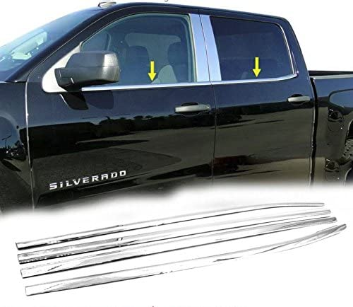Sizver Polished Stainless Steel Window Sills Trims For 2014-2017 Chevy Silverado 1500 Crew Cab