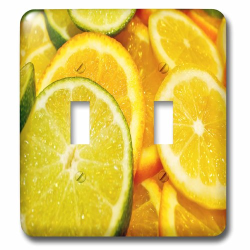 3dRose lsp/_213538/_2 Photograph Of Lemon And Lime Slices Double Toggle Switch