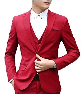 BingSai - Pantalón de Traje - para Hombre Rojo Rosso XXS ...