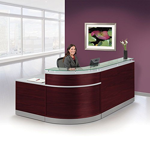 Glass Top Reception Desk - 95''W x 64''D Mahogany Laminate/Silver Laminate Kick Plates and Accents/Glass Counter Dimensions: 95''W x 64''D x 42''H Weight: 376 lbs.SpecsDimensional drawing by NBF Signature Series