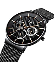 Mens Watches Ultra Thin Waterproof Date Calendar Luxury Wrist Watch for Men Business Simple Analogue Quartz Watches Casual Fashion Stainless Steel Watch - Black