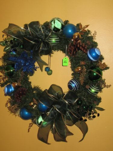 Traditional Holiday Wreath-Blue & Green Ornaments with 2 Green Sheer Bows trimmed in Gold, 2 Jingle Bells in the middle and a Blue Dove w/ Holly w/Wreath Bag