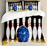 Bowling Party Decorations King Size Duvet Cover Set by Ambesonne, Blue Abstract Ball on Lane Pins Close Up View Sports Leisure Game, Decorative 3 Piece Bedding Set with 2 Pillow Shams, Multicolor