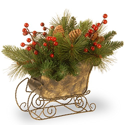 National Tree 10 Inch Decorative Collection Sleigh with Cones and Red Berries (DC3-178-10SG)
