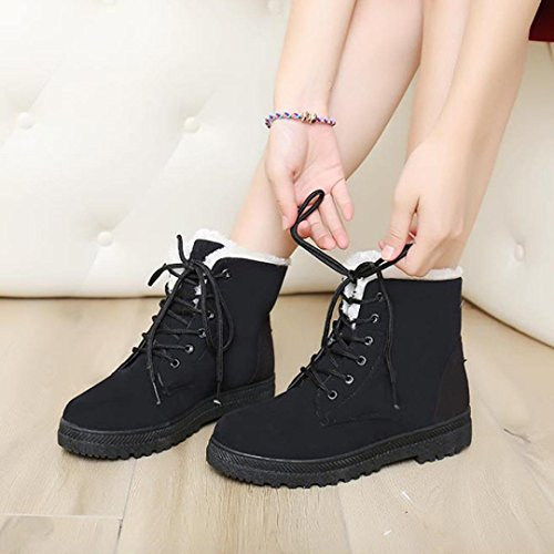 Tefamore Zapatos Planos de Mujer Botines Botas de Nuevo Clásico Otoño Invierno Negro