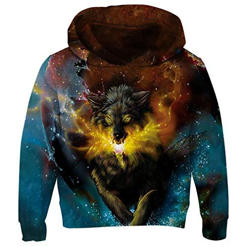 RAISEVERN Boy's Hoodies 3D Realistic Howling Wolf Pattern Hoodies Stylish Funny Cute Sweatshirt Gym Comfy Pullover Hoody -
