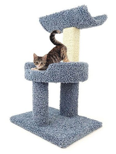 Wood Kitty Cat Furniture and Scratcher 30 inch with Bed & Cradle, Blue Carpet