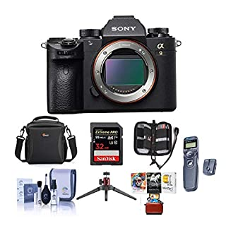 Sony Alpha a9 Mirrorless Digital Camera, Full Frame - Bundle with Camera Case, 32GB SDHC U3 Card, Wireless Remote Shutter, Cleaning Kit, Memory Wallet, Mac Software Package, Table Top Tripod