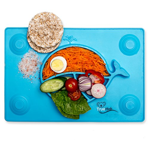 Silicone Child Placemat, True Koala Baby Feeding Mat Kids Plate Excellent Non-Slip Self Suction Toddler Dinnerware To Enhance Healthy Eating & Prevent Mess In Meals (BLUE)