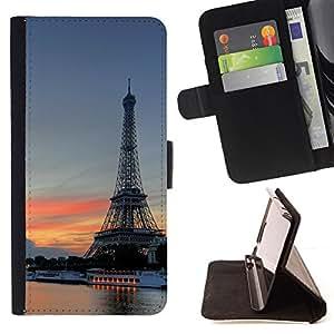 - Eiffel Tower - - Monedero PU titular de la tarjeta de cr????dito de cuero cubierta de la caja de la bolsa FOR Apple Iphone 4 / 4S RetroCandy