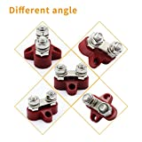 FXC Heavy Duty Bus Bar Terminal Studs Battery Power Block Junction, Dual M8 Power Distribution for Trailer Car Truck RV Boat, Red & Black