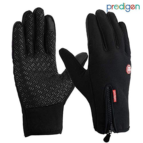 (Prodigen Outdoor Winter Gloves Touchscreen Waterproof Warm Gloves Insulated Thermal Gloves for Cycling,Riding,Driving,Running,Biking Sports for Men&Women Black(B-M))