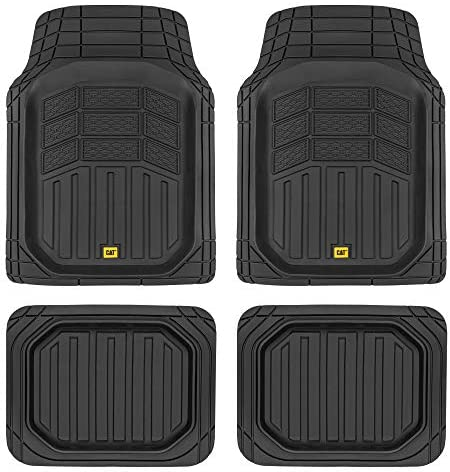 Caterpillar CAMT-9014 (4-Piece) Deep Dish Rubber Truck Floor Mats, Trim to Fit for Car Truck SUV & Van, All Weather Total Protection Durable Liners Heavy Duty Odorless