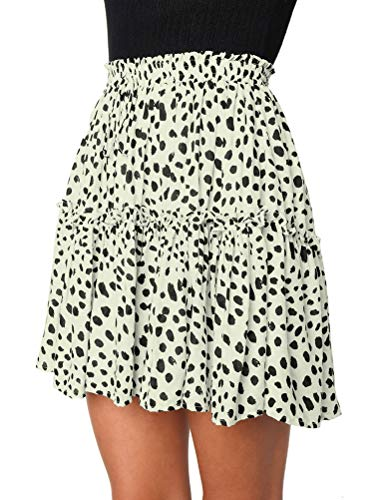 OUNAR Women Smocked High Waist Ruffle Frill Wrap Skirt Summer Mini Swing Dot Floral White
