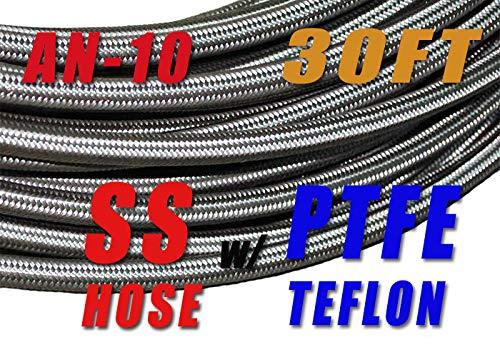 1//2 12.95mm Braided Stainless Steel PTFE TEFLON Fuel Line Hose E85 30FT TT Racing 10 AN10