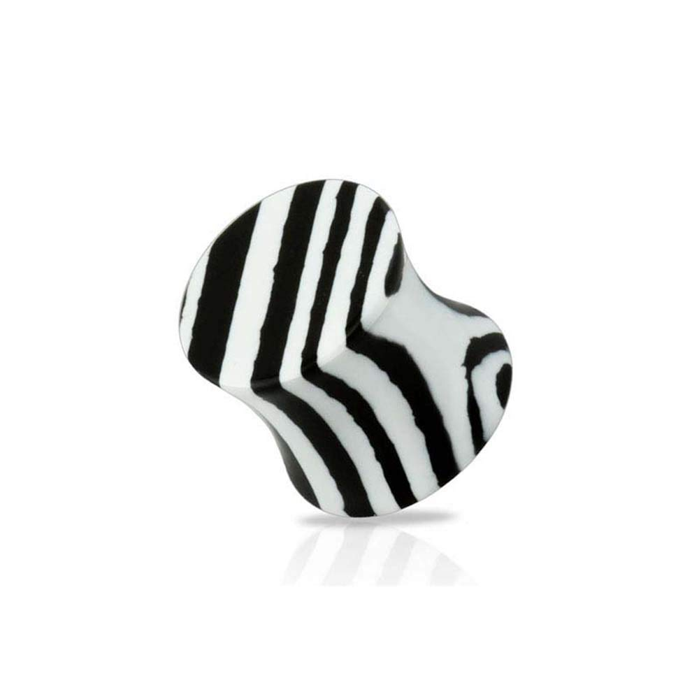 Covet Jewelry White and Black Agate Semi Precious Stone Solid Saddle Plugs