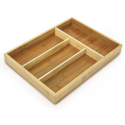Relaxdays Besteckkasten aus Bambus HxBxT: ca. 4 x 25 x 34cm Besteckeinsatz mit 4 Fächern als Küchenorganizer und…