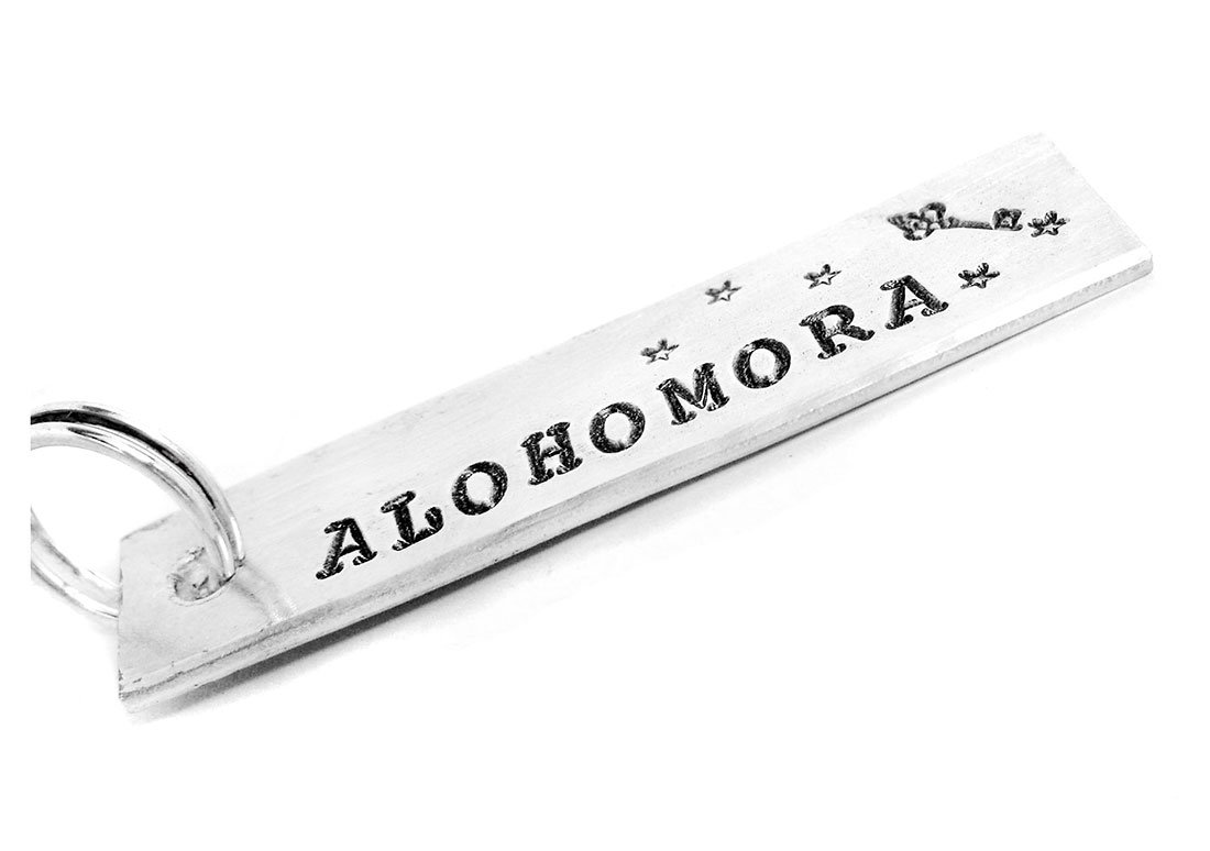 Alohomora Keychain - Hand Stamped Harry Potter Inspired Key Chain