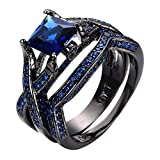 JBL Promise Top Quality AAA Blue Zircon Geometric Design Black Gold Filled Vintage Engagement Engagement Wedding Ring