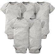 Gerber Baby 5-Pack Short-Sleeve Onesies, Gray, 0-3 Months