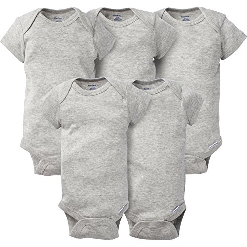 New Gray Ribbed (Gerber Baby 5 Pack Onesies, Solid Gray, 0-3 Months)