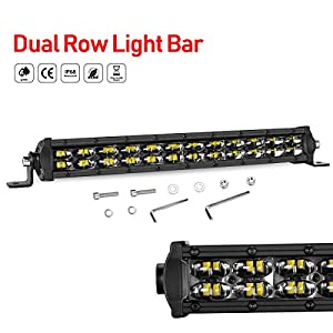 LED Light Bar 12 Inch, Swatow Industries 96W Slim Spot Flood Combo Off Road Light Bar Dual Row LED Driving Lights LED Bumper Lights for Truck Offroad SUV UTV ATV Boat - 2 Year Warranty