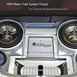 PYRAMID 2 Channel Car Stereo Amplifier - 1000W Dual Channel Bridgeable High Power MOSFET Audio Sound Auto Small Speaker Amp Box w/ Crossover, Variable Gain Control, RCA IN/OUT, LED Indicators - Pyle PB717X
