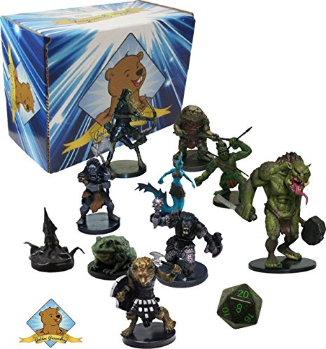 10 Assorted D&D Dungeons and Dragons Miniatures Figures - All Creatures Lot! No Duplication! With Random D20! Includes Golden Groundhog Storage (Dragon Figure Box)