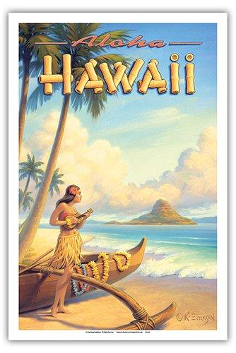 - Aloha Hawaii - Hula Girl Playing Ukulele - Mokoli_i Island (Chinaman's Hat) - Vintage Style Hawaiian Travel Poster by Kerne Erickson - Master Art Print - 12 x 18in