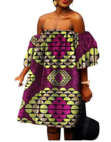 Tootless Women African Shoulder Off Batik Big Pendulum Mini Cocktail Dress 3 2XL by Tootless-Women