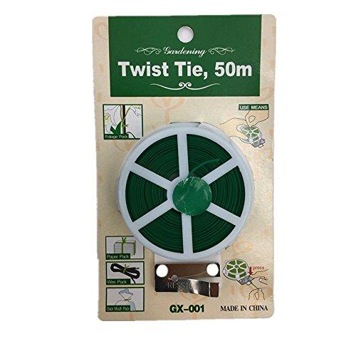 Y8HM 164 Feet Garden Twist Tie with Cutter, Multi-Function Garden Plant Twist Ties