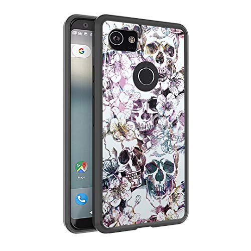 Capsule Case Compatible with Google Pixel 2 XL (2017) [Hybrid Slim Hard Back Shield with Fused TPU Edge Bumper Case Black] for Pixel 2XL - (Messy Skull) -