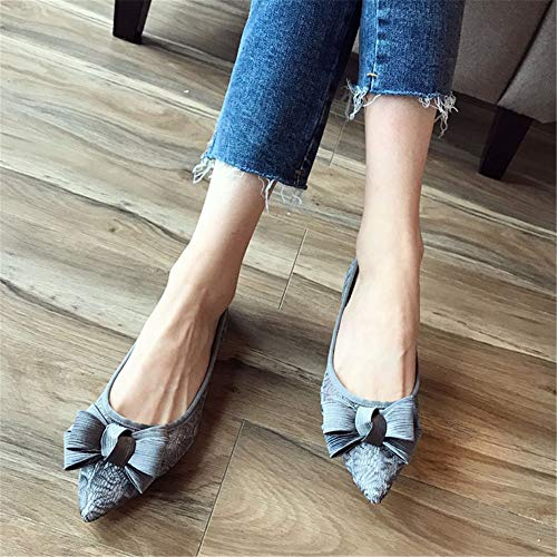 pointed EU comfortable work openwork breathable shallow sweet FLYRCX flat mouth summer sandals shoes mesh bow 37 and Spring wCqCTxRz4