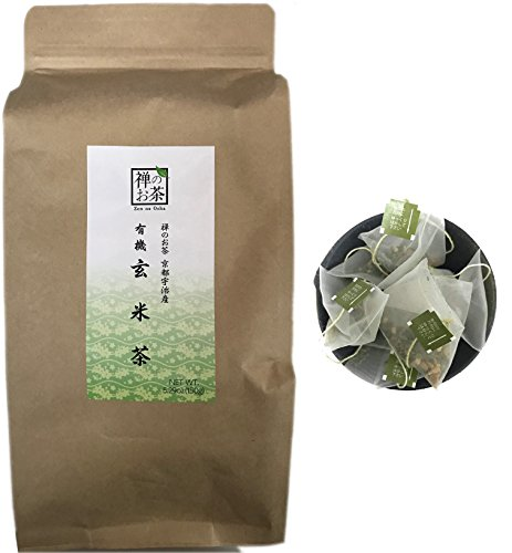 Zen no Ocha - Japanese Genmaicha Green Tea with Roasted Brown Rice Tea Bags 100% organic 5.29oz (150g) 100 pieces (Made in Kyoto Uji Japan)