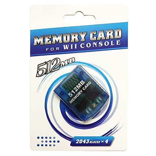 AreMe Memory Card for Nintendo Wii Gamecube GC Console (512MB, Clear Blue)