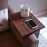 RUSTIC Sofa Chair Arm Rest Table Stand with Shelf and Storage Pocket for Magazine