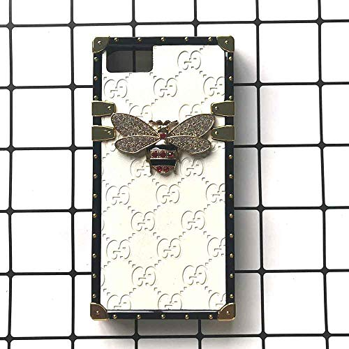iPhone 7/8 Fast US Deliver Guarantee Fulfilled by Amazon Elegant Diamond-Studded Metal Bee Cover Soft Shock Absorbent Edges Case for iPhone7, iPhone8 (Studded White Iphone)