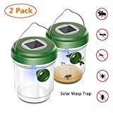 Wehome Solar Outdoor Wasp Trap Catcher Killer with Ultraviolet LED Light Set of 2,Traps Wasps, Bees, Yellow Jackets, Hornets, Bugs, Fly and More