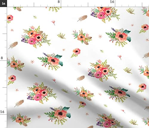 Spoonflower Harvest Posies Fabric - Feather Boho Retro Native Poppy Painted Flowers Pastel Colors Rose Baby Girl Fall Autumn Hippy by Shopcabin Printed on Petal Signature Cotton Fabric by The Yard