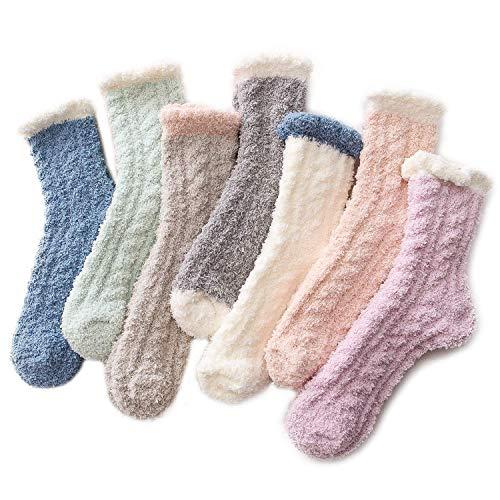 Zando Women's Fuzzy Socks Winter Warm Slipper Socks Super Soft Fluffy Socks Thick Microfiber Sleeping Sock Cozy Plush Socks for Girls 7 Pairs Patchwork One Size