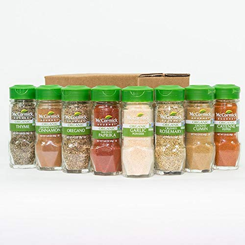 Organic Spice Rack Refill by McCormick, 8 Herbs & Spices Included (Restock Pantry with Spice Set)