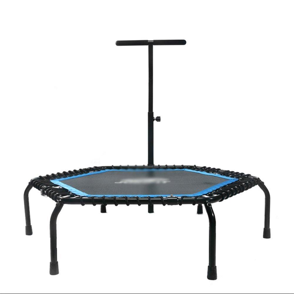 Wly&Home Fitness-Trampolin (Ø 127Cm) mit Tragegriff, Gummiseilsystem, Höhenverstellbarem Griff & Kantenschutz, Indoor-Trampolin, Fitness-Trampolin Für Zuhause