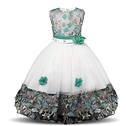SAFJK Fancy Costume for Girls Dress New Year Party Ball Gown Kids Dresses Children Star Print Fantasia Infantil Green 7 ()