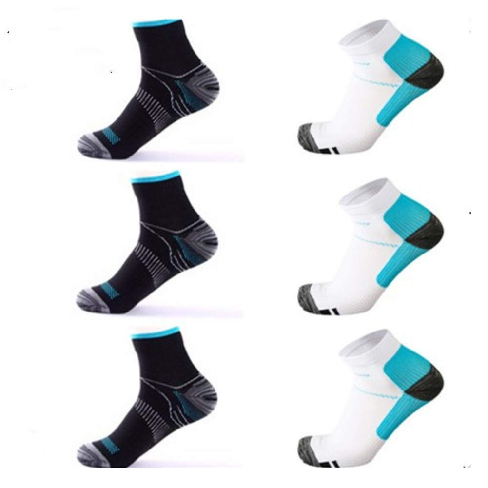 6 Pairs Medical&Althetic Compression Socks for Men Women, 15-20 mmHg Nursing Plantar Fasciitis Arch Support,Compression Ankle Socks for Running Marathon Travel Flight (Black Blue+White Blue)
