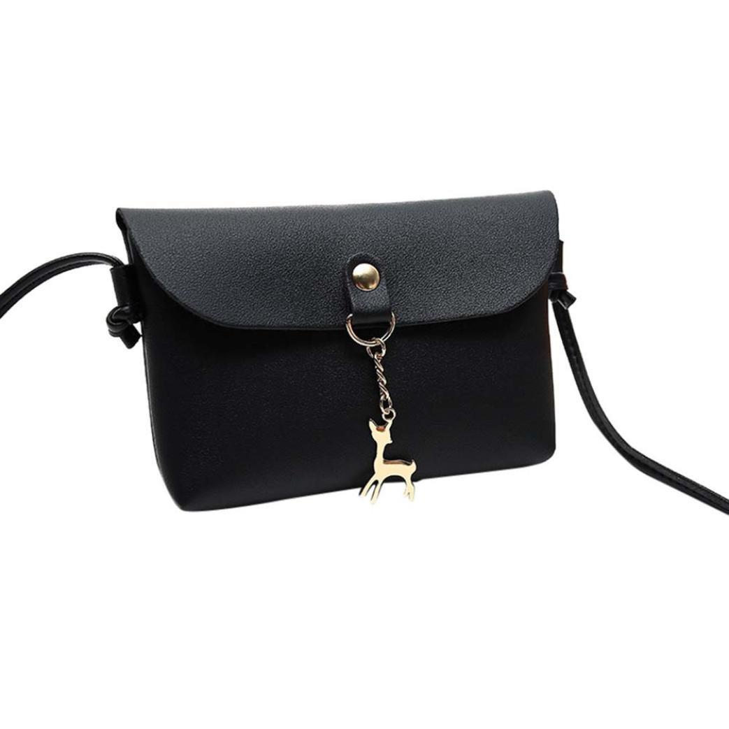 ZYooh Clearance Sale Wallet Bag Girls Vintage Small Deer Pendant Leather Crossbody Shoulder Bag (Black)