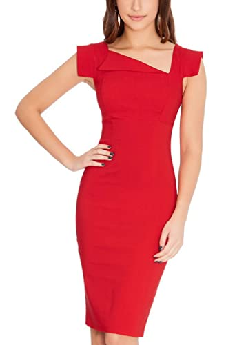 Ssyiz Women's Official Asymmetrical V-Neck Retro Business Bodycon Pencil Dress ( Can be customized )