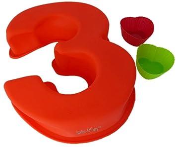 Moldes de silicona para hornear tartas con números grandes para cumpleaños y aniversarios, más 2 moldes para tartas con forma de corazón 3 rosso: Amazon.es: ...