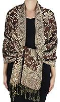 Peach Couture Womens Elegant Reversible Floral Paisley Pashmina Shawl Wrap Scarf