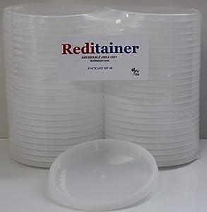 Reditainer Deli Container Lids - Airtight Durable Plastic Lids - Replacement Reusable Deli Lids for Reditainer Deli Containers LIDS ONLY - Package Count (48)